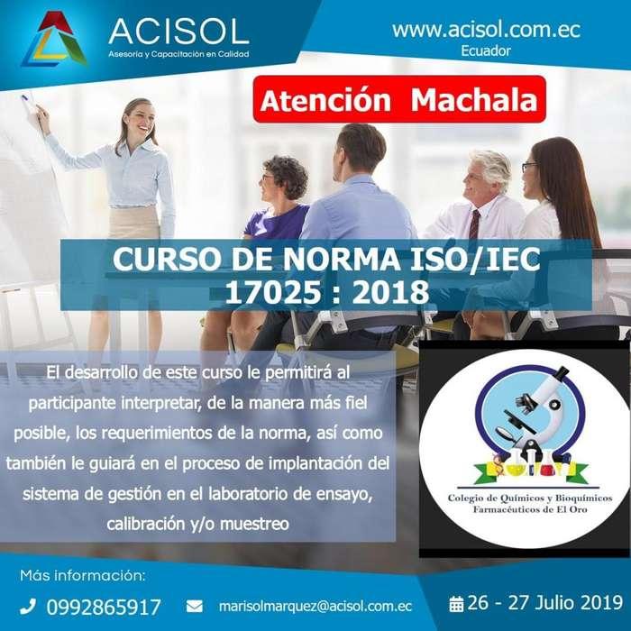 CURSO LABORATORIO NORMA ISO /IEC 17025 Machala con el Aval de Colegio de QUÍMICOS FARAMCÉUTICOS DE EL ORO
