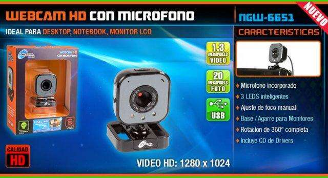 Webcam Noganet NGW6651 con Mic / HD