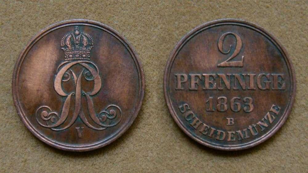 Moneda de 2 pfennige Hannover, Alemania 1863