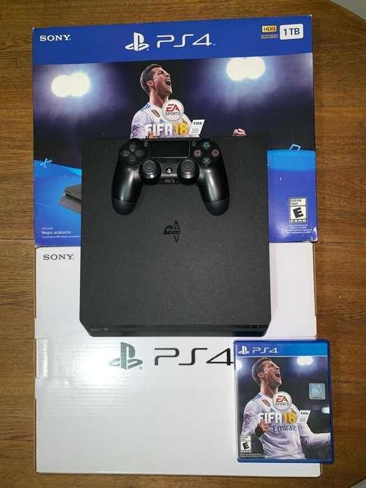 PS4 Slim 1TB, 1 control, juego fifa 18