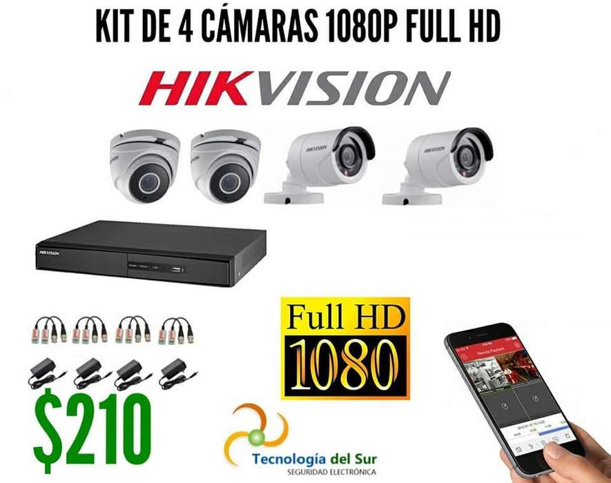 KIT DE 4 CÁMARAS HIKVISION RESOLUCION 1080P FULL HD