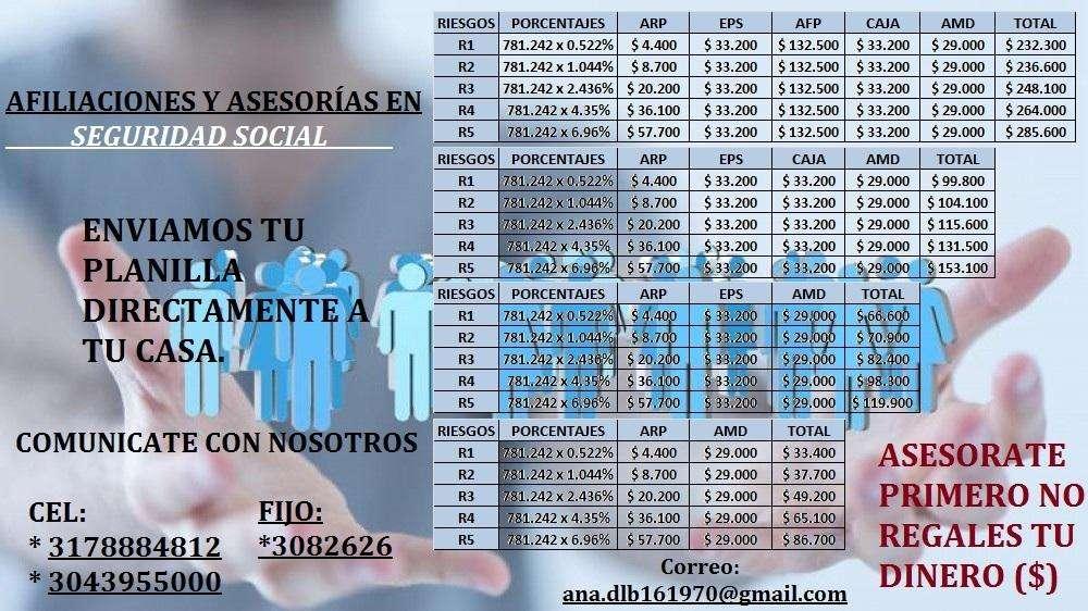 SERVICIO DE AFILIACIONES: EPS ARL CCF AFP PARA INDEPENDIENTES O EMPLEADOS QUE DESEEN AFILIARSE A LA SEGURIDAD SOCIAL