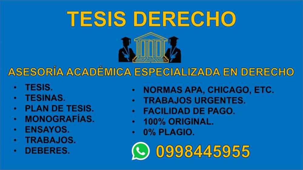 ASESORÍA TESIS ESPECIALIZADA EN DERECHO