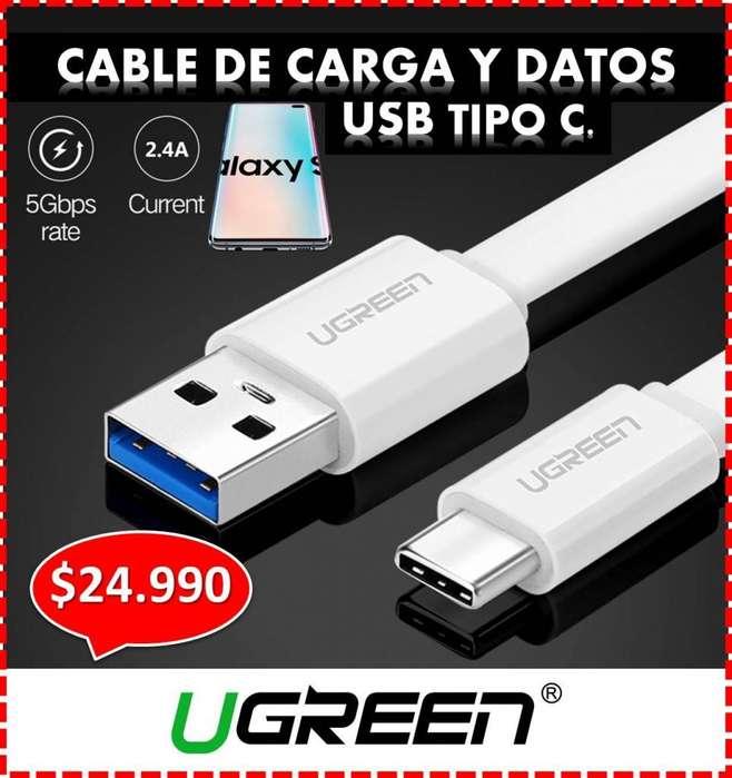 CABLE USB TIPO C - UGREEN, PARA TU CELULAR SAMSUNG, HUAWEI, ONE PLUS, MI - CARGA RAPIDA 3.0, 1.5 mt, ENTREGA A DOMICILIO