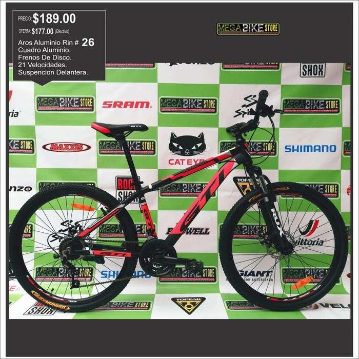 bicicleta montañera aluminio para paseo , deporte , recreacion aro 26 con frenos de disco