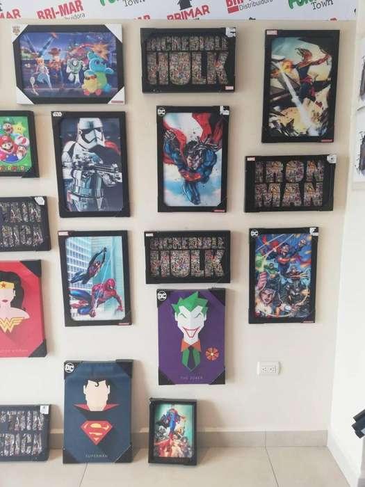 Cuadros Holograma Superman/ star wars/ wason / toy story/ flash/ mario bros/