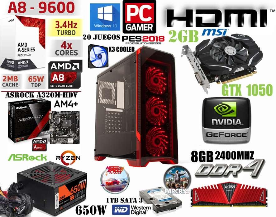 <strong>pc</strong> POWER GAMER // NUEVA // AMD 8 9600 X4 1TB 8GB DDR4 GTX 1050 2GB 650W REAL
