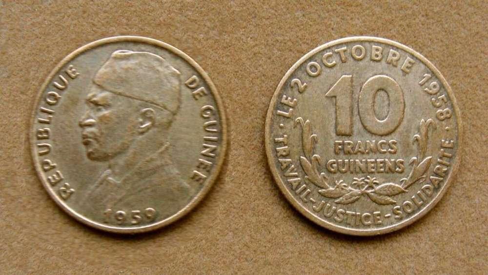 Moneda de 10 francos de Guinea 1959