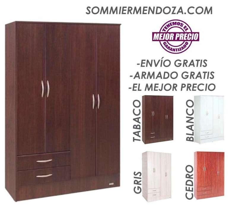 ENVÍO Y ARMADO GRATIS! 122 cm x 185 cm! PLACAR 4 PUERTAS 2 CAJONES Platinum 914 Placar Placard Ropero o Armario.