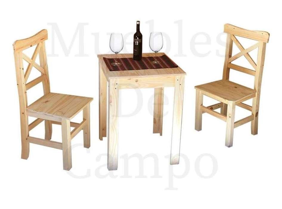 mesa de bar 70x70 pata en L 2 sillas cruz