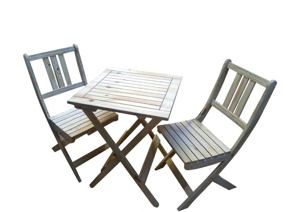 Mesa 2 <strong>silla</strong> Plegables De Madera Exterior.