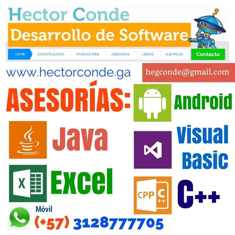Clases de Algoritmos, Programación, CPP, Macros Excel VBA, Java, Android Apps, Visual Basic