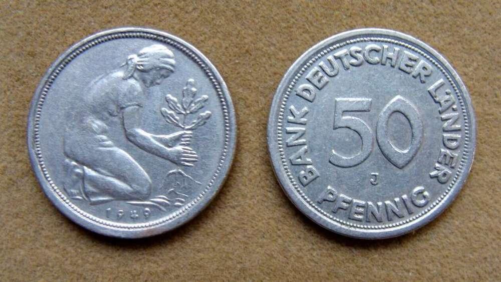 Moneda de 50 pfennig Alemania Federal 1949