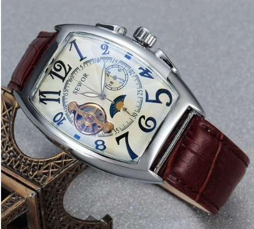 SEWOR Classic Tourbillon Wrap reloj hombre marca de lujo reloj automático, reloj mecánico fondo blanco
