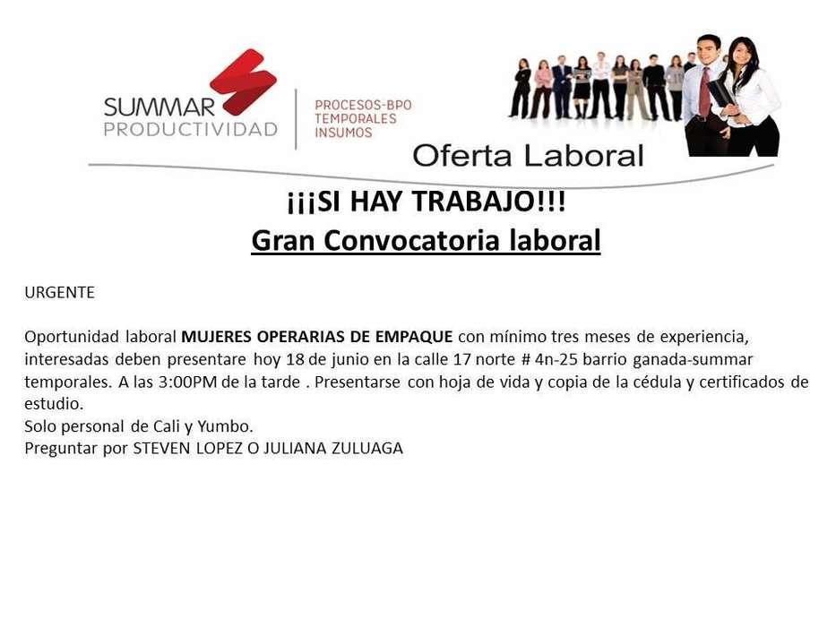 OFERTA LABORAL OPERARIAS DE PRODUCCION