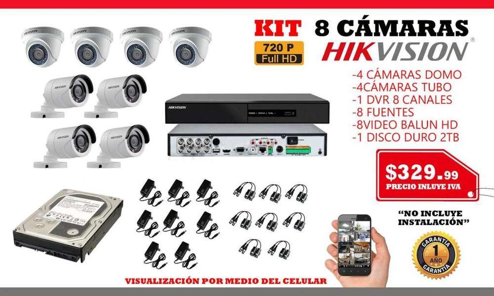 Camaras de seguridad hikvision/Kit camaras de seguiridad 4-8 /dvr hikvision/disco duro/cable utp/Quito-Guayaquil
