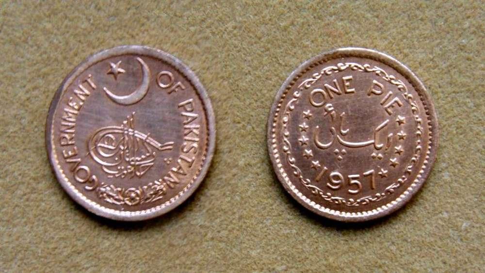 Moneda de 1 pie Paquistán bajo dominio británico 1957
