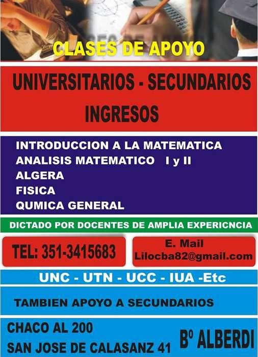 APOYO UNIVERSITARIO, ANALISIS ALGEBRA FISICA, UNC, UTN UCC, IUA.