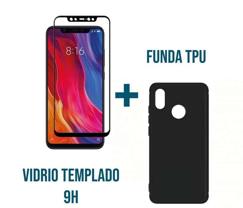 Estuche Silicona Tpu Vidrio 9h Xiaomi Mi 8