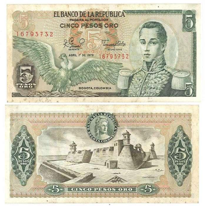 COLOMBIA. BILLETE. 5 PESOS. 1979 ABR 01. ESTADO 7 DE 10. VALOR 1400
