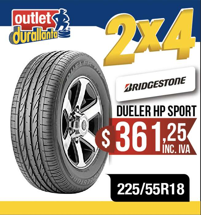 <strong>llantas</strong> 225/55R18 BRIDGESTONE DUELER HP SPORT TUCSON XTrail Xtreme CS55 LUXURY 3008 GTL OUTLANDER PHEV S5 NEW COMPASS
