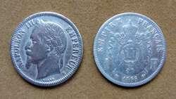 Moneda de 20 céntimos de franco de plata Francia 1866