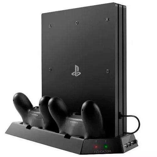 Base Vertical Ps4 Pro Cargador Dualshock Refrigerante
