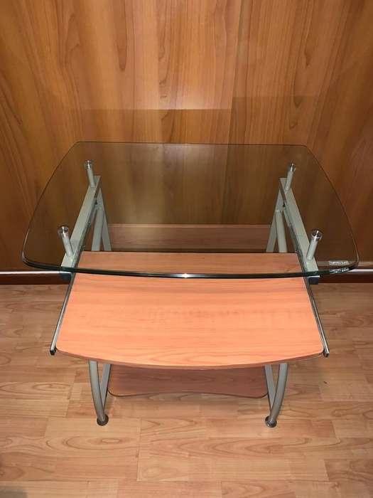 <strong>escritorio</strong> Pc Vidrio Madera Y Caño
