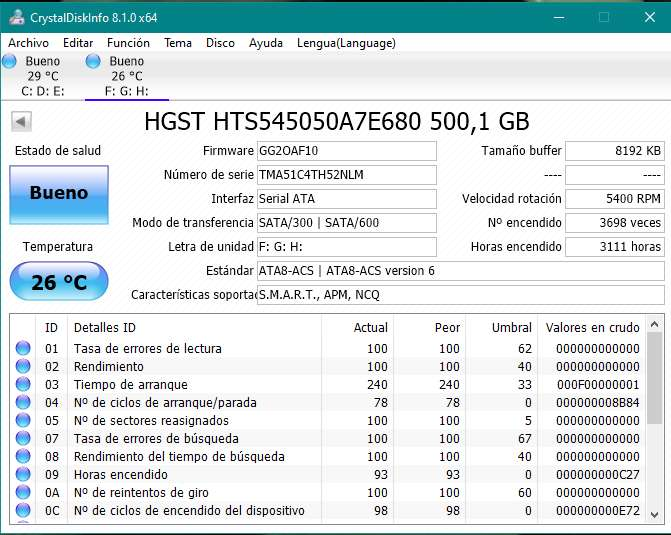 Disco duro HGST de 500 gigas para portátil, en perfectas condiciones