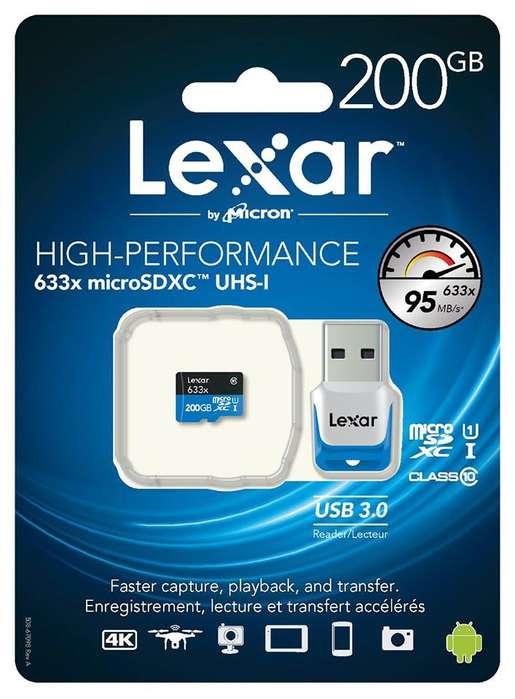 Memoria Micro SD Lexar de 200GG 95Mbps/ Con Lector USB