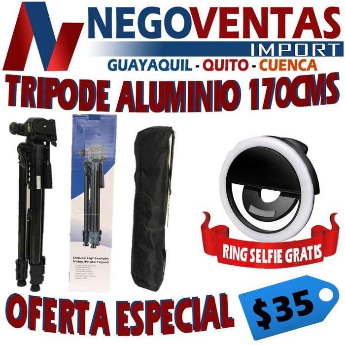 TRIPODE ALUMINIO 170 CMS REFORSADO GRATIS RING SELFIE