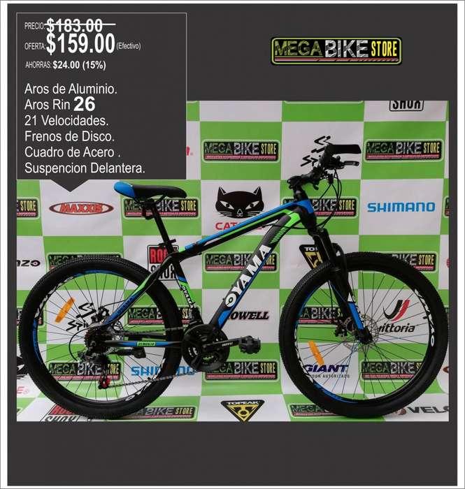 PROMOCION <strong>bicicleta</strong> OYAMA MONTAÑERA ARO RIN 26 , SUSPENSION DELANTERA , FRENOS DE DISCO , 21 CAMBIOS , N-VER-AZUL