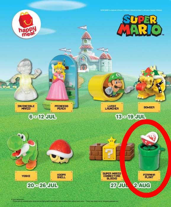 Mc Donalds Super Mario Bros : Planta Piraña , Yoshi , Bowser , Princesa Peach