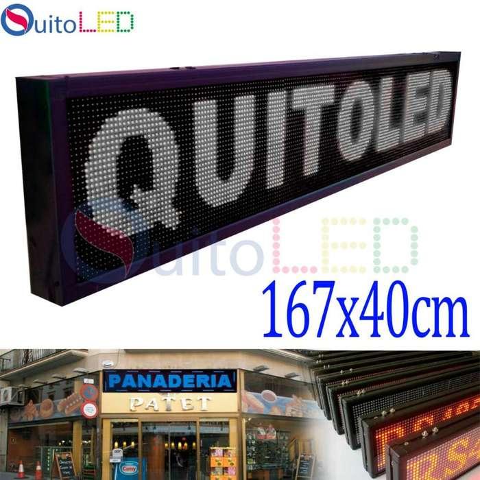 Letrero Programable 1.67 por 0.40cms Interior USB Un Color Quitoled