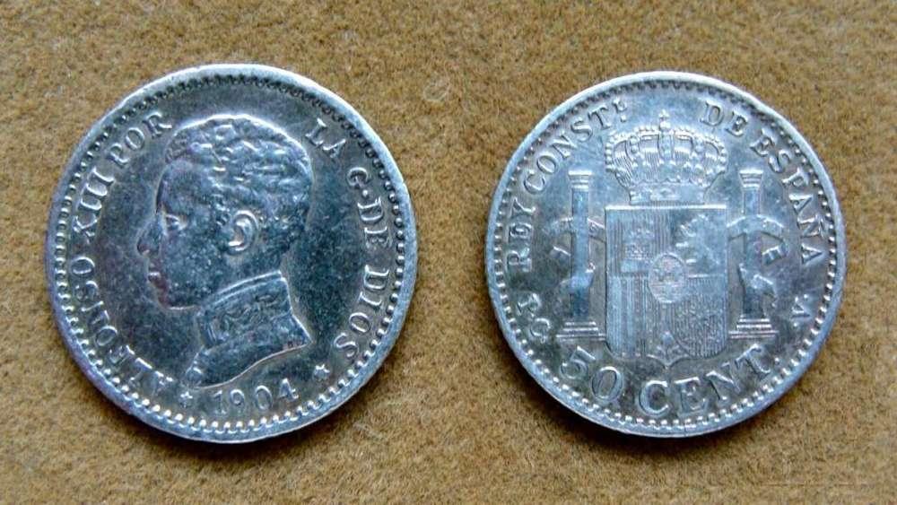 Moneda de 50 céntimos de peseta de Plata, España 190404