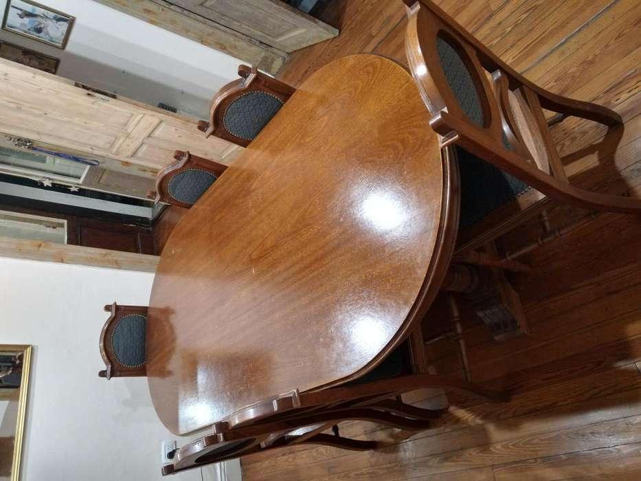 Juego de <strong>comedor</strong> roble Cristalero mesa y 6 sillas