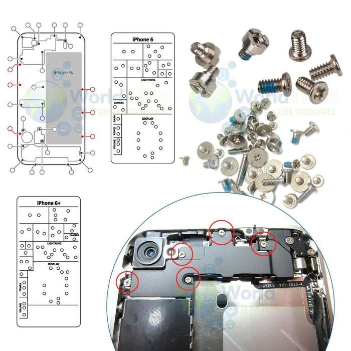 Kit Tornillo Perno Completos Iphone 4 4s 5 5s 5c 6 6s 7 Plus