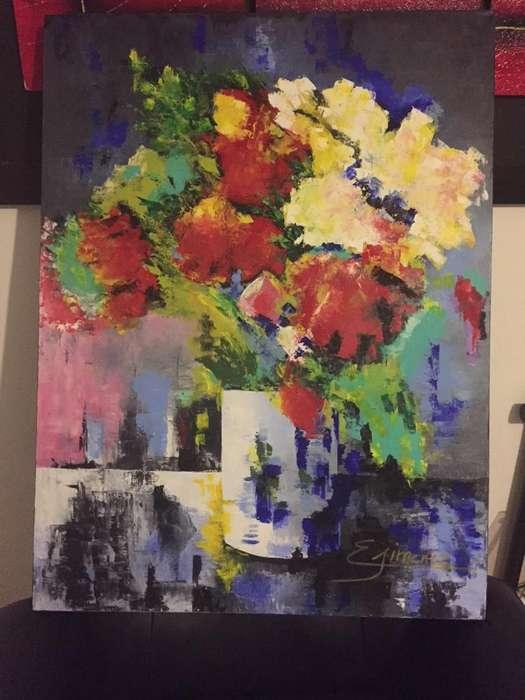 Cuadro pintado al óleo. flores, obra de arte de artista Quindiana.
