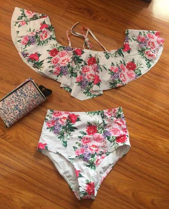 Vestido de baño retro de flores obsequio Nuevo Talla M