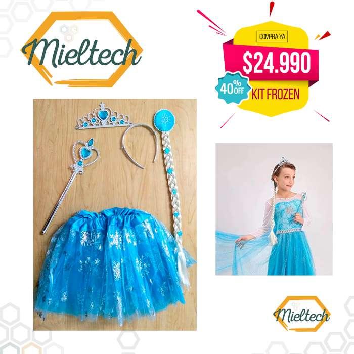 Hermoso Tutu de frozen princesa con set adicionales, peluca trensa, tiara, corona