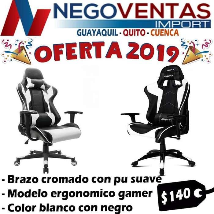 SILLA GAMER INCLINABLE COLORE NEGRO CON BLANCO Y NEGRO CON ROJO SUPER COMODA