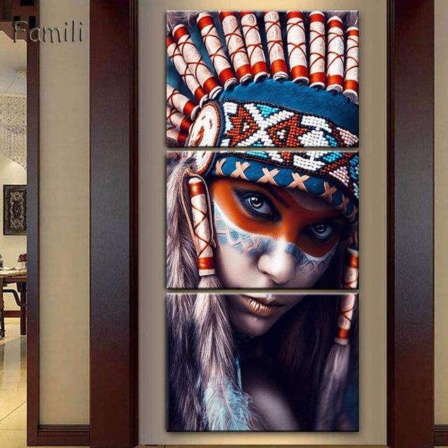 hermoso india en 3 paneles 9574