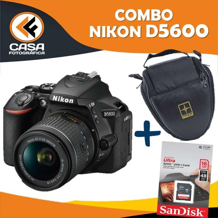 NUEVO!! COMBO NIKON D5600 MEMORIA SD COMPACTA 16 GB ESTUCHE IMPERMEABLE DOBLEBOLSILLO