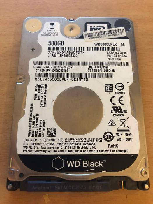 Disco SATA 500GB 7200 2,5''