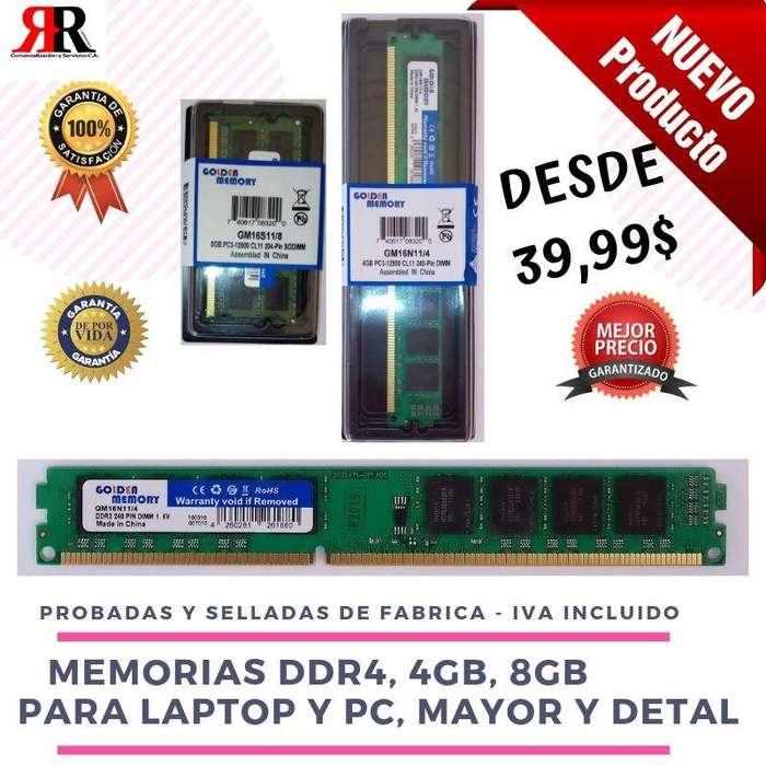 Memoria Ram Ddr4 4gb Y 8gb Laptop Y Pc Mayor Y Detal, Nuevas