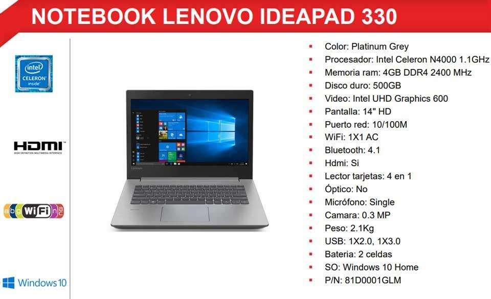 Laptop Lenovo Ideapad 33014IGM 14 Celeron N4000 500GB 4GB