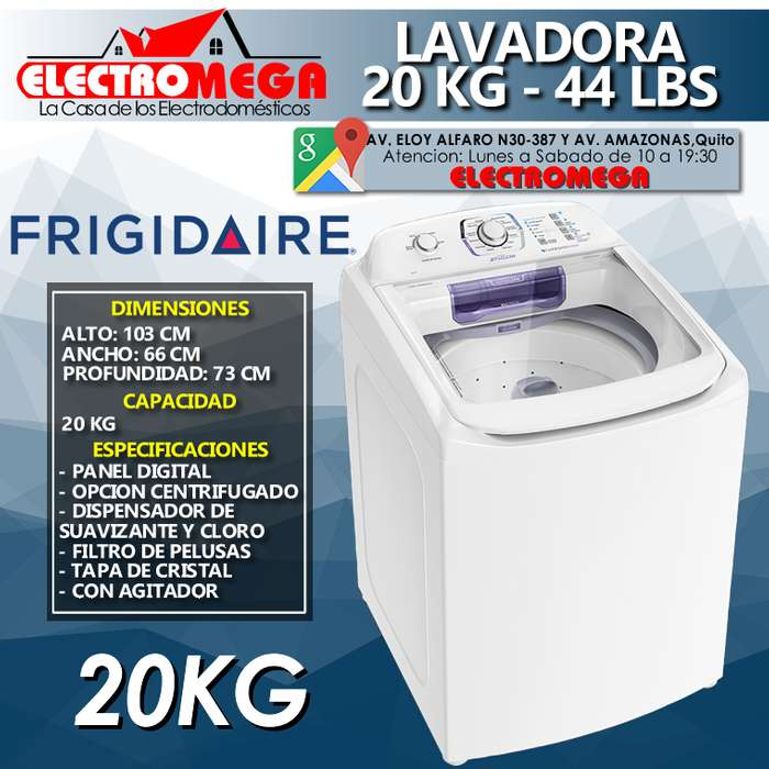 <strong>lavadora</strong> FRIGIDAIRE 20KG 44LBS CARGA SUPERIOR NUEVA L20Y