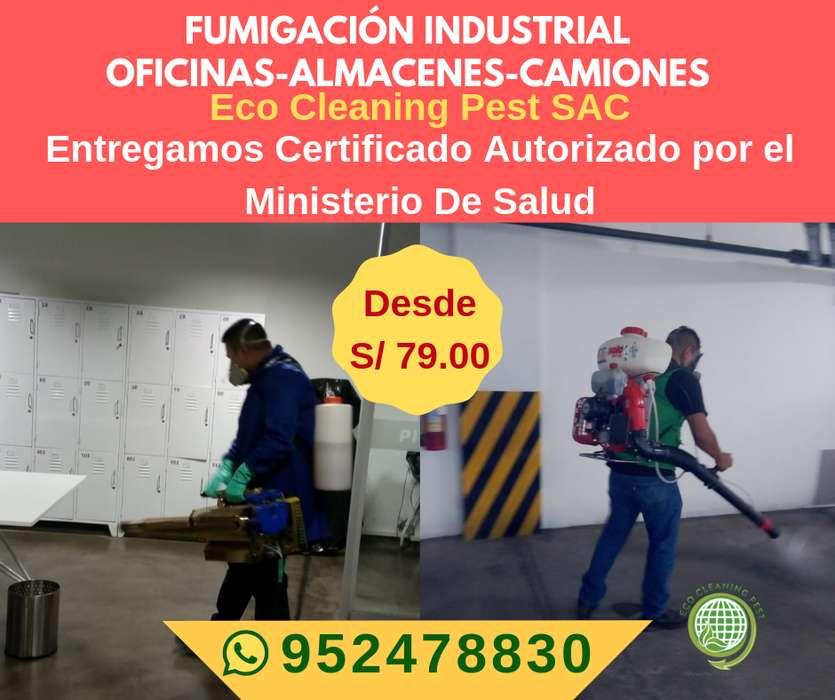 FUMIGACION INDUSTRIAL - OFICINAS-ALMACENES CON CERTIFICADO AUTORIZADO DESDE 79 SOLES