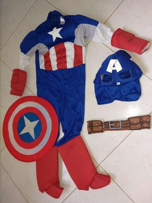 Disfraz Capitan América, Talla 6 Niño
