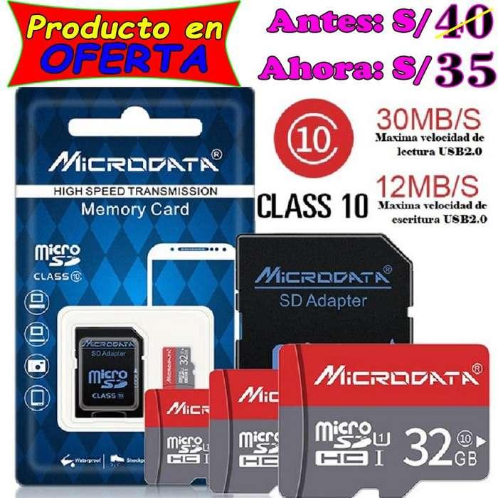 Memoria MicroSD de 32 GB con adaptador. MicroData de calidad y bajo precio en Piura
